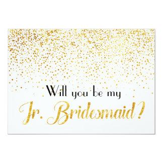Faux Gold Confetti Will you be My Jr. Bridesmaid Invitation