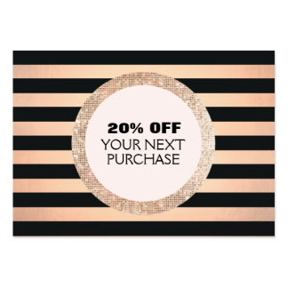 Faux Gold & Copper Striped Fashion & Beauty Coupon Large Business Card