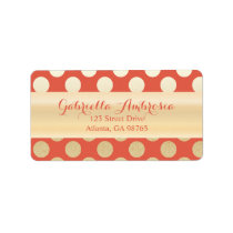 Faux Gold & Coral Polka Dots Label