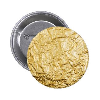 Faux Gold Crumpled Metallic Foil Effect Button