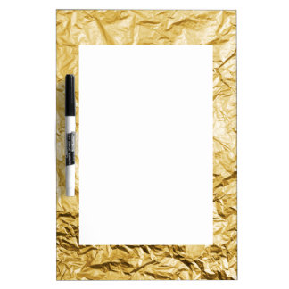 Faux Gold Crumpled Metallic Foil Effect Dry-Erase Board