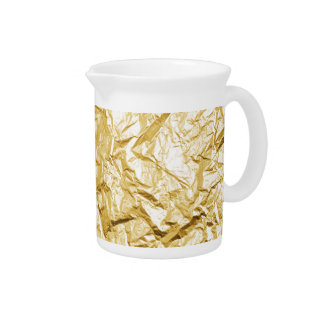 Faux Gold Crumpled Metallic Foil Effect Pitcher