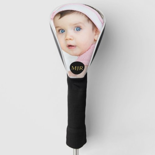 Faux Gold  Custom Photo  Monogram Personalized Golf Head Cover