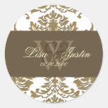 Faux gold Damask monogram wedding stickers