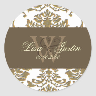 Faux gold Damask monogram wedding stickers