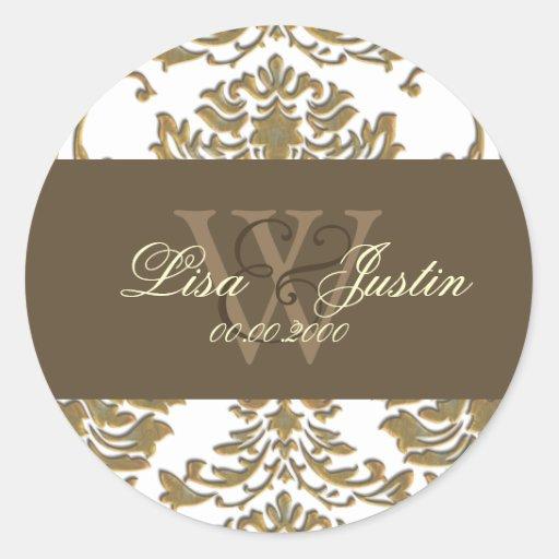faux gold damask monogram wedding stickers zazzle