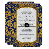 Faux Gold Damask Navy Blue Vintage Baroque Glam Invitation