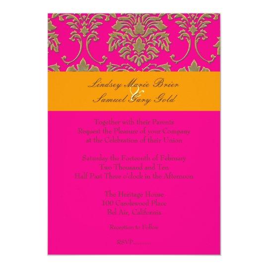 Faux Gold Damask/orange/hot pink Card