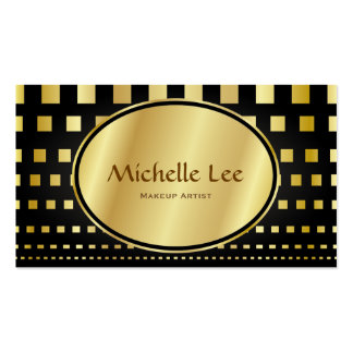 Faux Gold Dash Line Makeup Artist Appointment Business Card