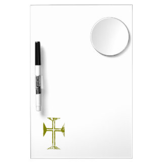 Faux Gold Destroyed Look Cross Dry Erase Board With Mirror