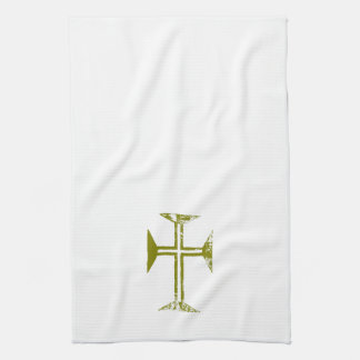 Faux Gold Destroyed Look Cross Kitchen Towel