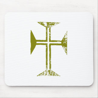 Faux Gold Destroyed Look Cross Mouse Pad