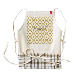 faux gold,diamond,pattern,checker,art deco,retro,c zazzle HEART apron