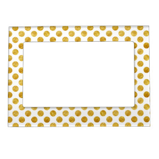 Faux gold dots pattern magnetic photo frame
