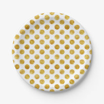 Faux gold dots pattern paper plate
