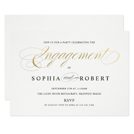 Faux Gold Elegant Calligraphy Engagement Monogram Invitation