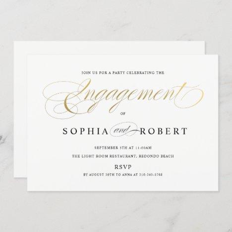 Faux Gold Elegant Calligraphy Engagement Monogram Invitation