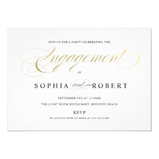 Faux Gold Elegant Calligraphy Engagement S and G Invitation
