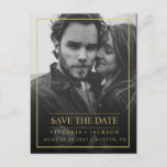 "FAUX GOLD  ELEGANT FRAME PHOTO SAVE THE DATE ANNOUNCEMENT POSTCARD<br><div class=""desc"">Congratulations on your engagement! Save the Date announcements are the first big step in the wedding planning process! Remember, your save the date announcement will set the tone for your big day, be sure to impress guests with an unforgettable design and a peek into what&#39;s to come! Modern and simple...</div>"