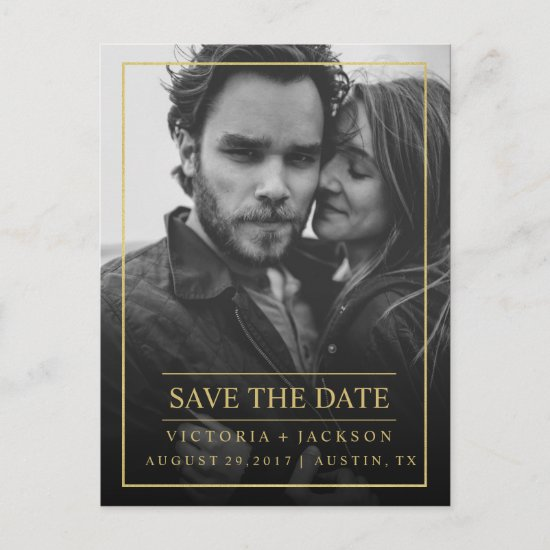 FAUX GOLD  ELEGANT FRAME PHOTO SAVE THE DATE ANNOUNCEMENT POSTCARD