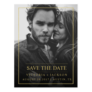 FAUX GOLD  ELEGANT FRAME PHOTO SAVE THE DATE POSTCARD