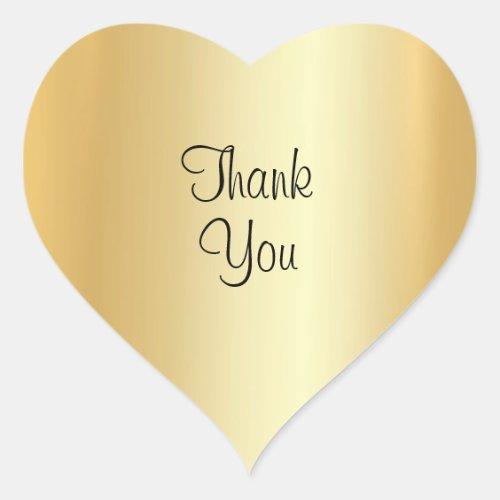 Faux Gold Elegant Handwriting Script Thank You Heart Sticker