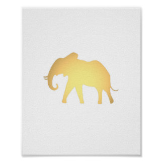 Faux gold Elephant silhouette cute animal print