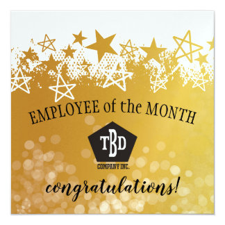 Faux gold employee of the month award card