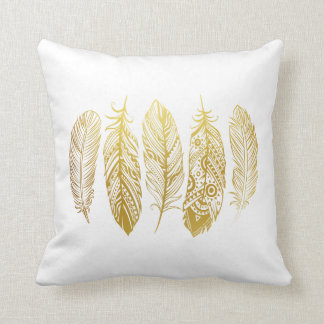 faux gold feather tribal print pillow