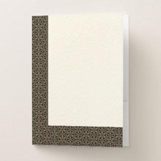 Faux Gold Filigree on Black & Off-White #2 Pocket Folder