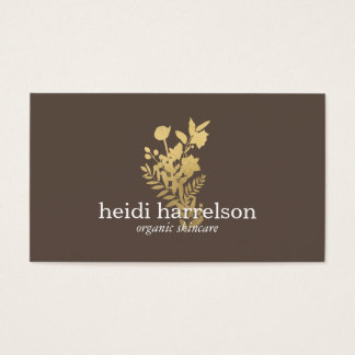 Faux Gold Floral Logo on Dark Brown Business Card