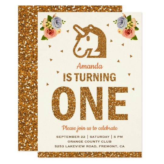 Faux Gold Floral Unicorn First 1st Birthday Party Invitation