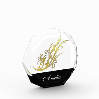 Faux Gold Flower Black Personalized Name Acrylic Award