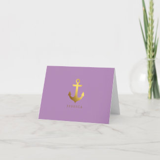 Faux Gold Foil and Lavender Anchor Note Card