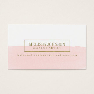 Faux Gold Foil and Watercolor Business Cards
