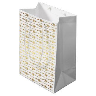 Faux Gold Foil Arrows Pattern Medium Gift Bag