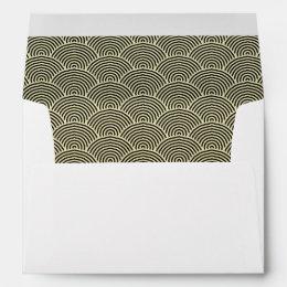Faux Gold Foil Black Circle Fan Pattern Envelope