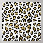 Faux Gold Foil Black Leopard Print Pattern