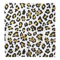 Faux Gold Foil Black Leopard Print Pattern Bandana