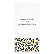 Faux Gold Foil Black Leopard Print Pattern Card