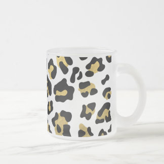 Faux Gold Foil Black Leopard Print Pattern Frosted Glass Coffee Mug