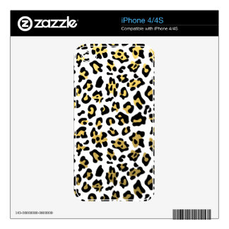 Faux Gold Foil Black Leopard Print Pattern Decal For iPhone 4S