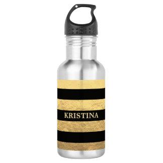 Faux Gold Foil/Black Stripes Personalized Water Bottle