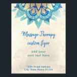 """FAUX gold foil blue lotus flower massage therapy Flyer<br><div class=""""desc"""">please note this is a printed product with NO REAL GOLD FOIL</div>"""