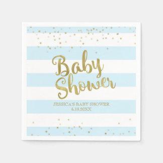 Faux Gold Foil, Blue Stripes Baby Shower Boy Napkin