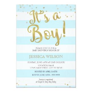 Faux Gold Foil, Blue Stripes Baby Shower Its a Boy Card