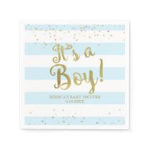 Faux Gold Foil, Blue Stripes Baby Shower Its a Boy Napkin