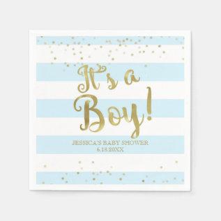Faux Gold Foil, Blue Stripes Baby Shower Its A Boy Napkin at Zazzle
