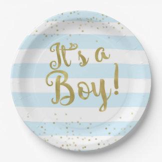 Faux Gold Foil Blue Stripes Baby Shower Its a Boy Paper Plate