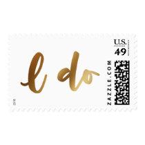 Faux Gold Foil Bold Script over White, I Do Postage
